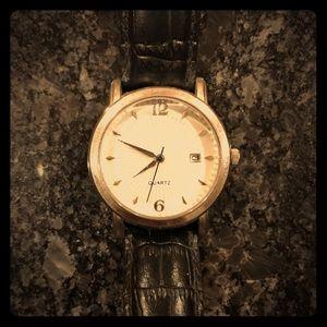 Men's Avon Quartz Black Leather Band Watch
